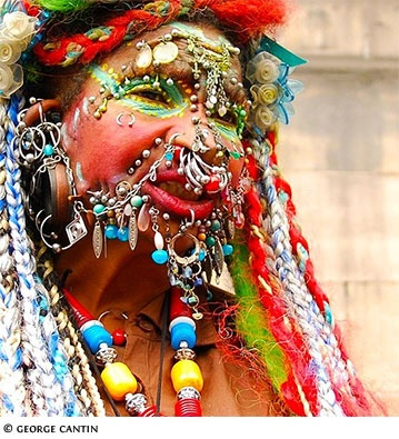 Elaine Davidson, a Scottish woman, has the world record for extreme piercing, she has about 1903 of them
