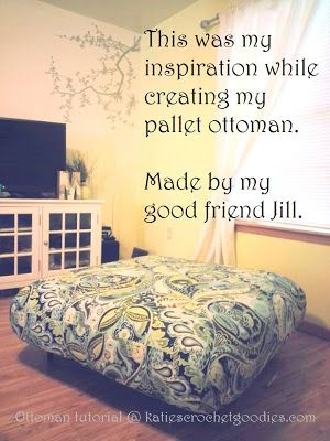 DIY Pallet Ottoman Tutorial | Katie's Crochet Goodies and Crafts