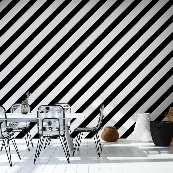 Black And White Striped Peel Stick Wallpaper Geometric Self Etsy Temporary Wall Decor Black And White Wall Murals
