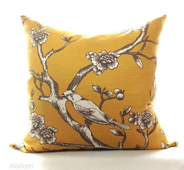 Robert Allen Mustard Yellow Bird Tree Decorative Throw Pillow Cover Case Zipper