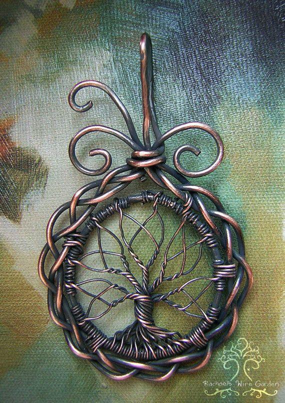 FABRIQUÉ sur commande : Celtique nordique Tree of Life fil enveloppé pendentif…