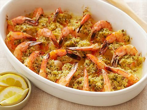 Baked shrimp scampi is an easy company dish that can be made ahead of time.  Always 12-15 count shrimp for this recipe.