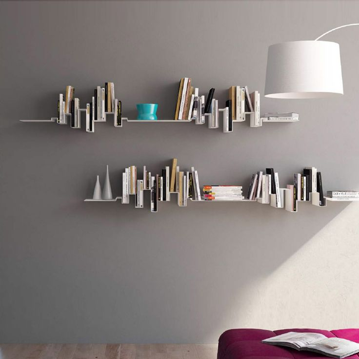 Etagere skyline ondule aico tag re murale pour livres et for Decoration murale feuille metal