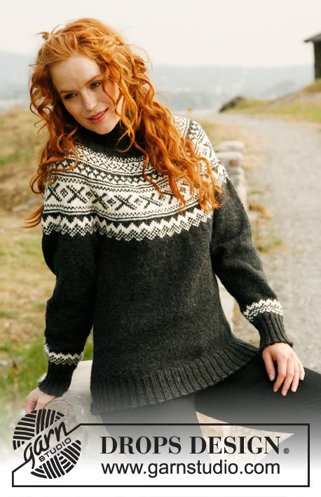 "Knitted DROPS jumper with round yoke and Norwegian pattern in ""Karisma"".Size: S to XXXL."