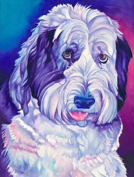 Shaggy Daisy 22×16 Old English Sheepdog Watercolor.  Sinclair Stratton