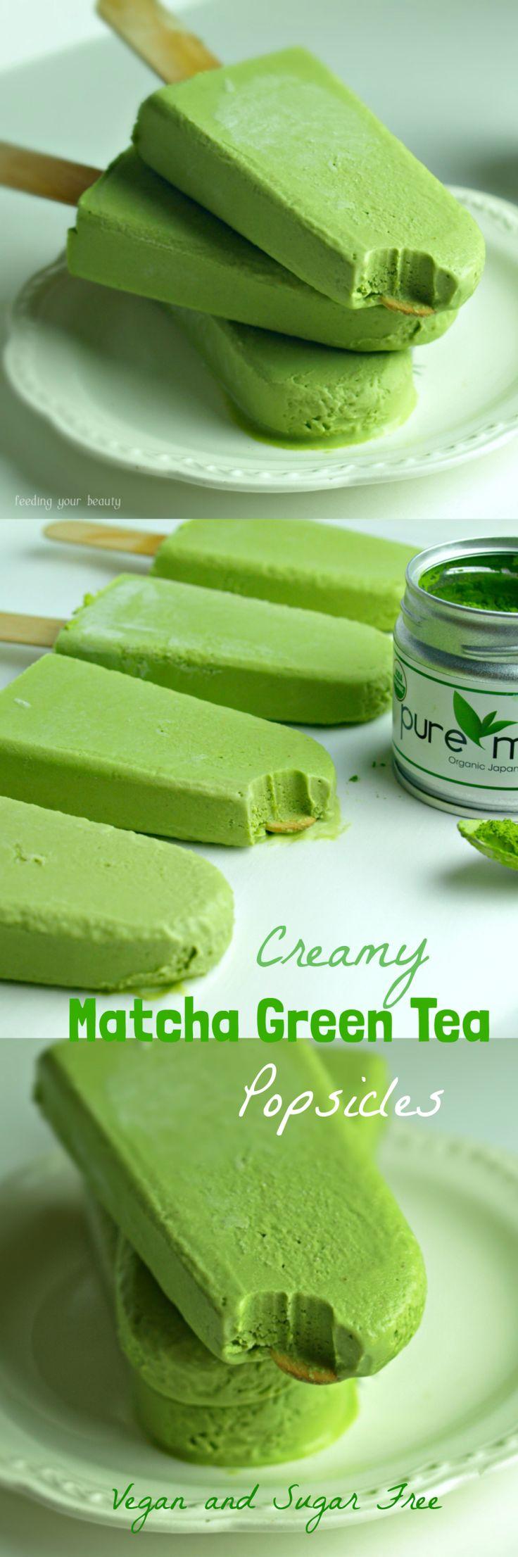 Creamy Matcha Green Tea Popsicles - Vegan and Sugar Free