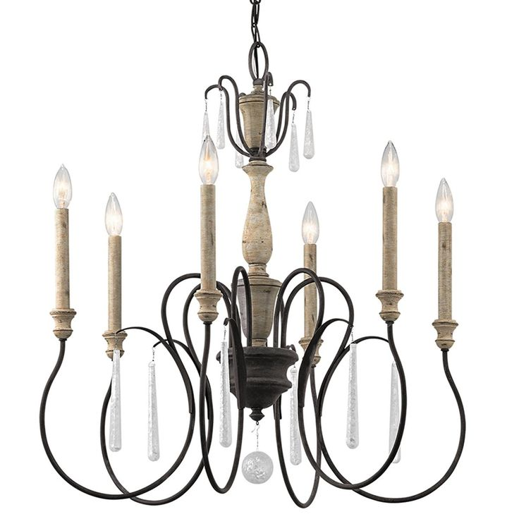 parchment glass accent 6light chandelier