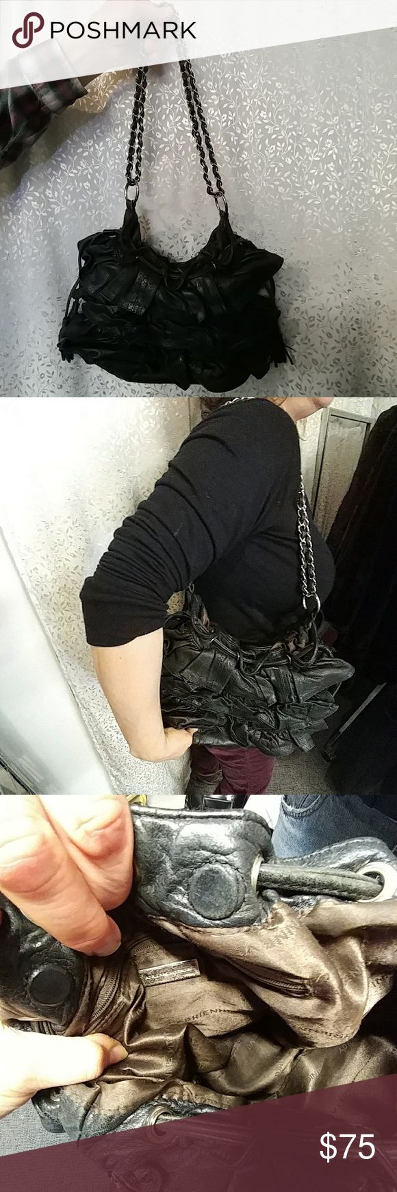 """Adrienne Vittadini black leather ruffled purse 12"""" L x 7"""" w a 12"""" chain.  Beautiful lining.  Tassels on each side. Chain is silver.  One pocket inside w zipper.  Magnetic closure.  Great condition! Adrienne Vittadini Bags Shoulder Bags"""