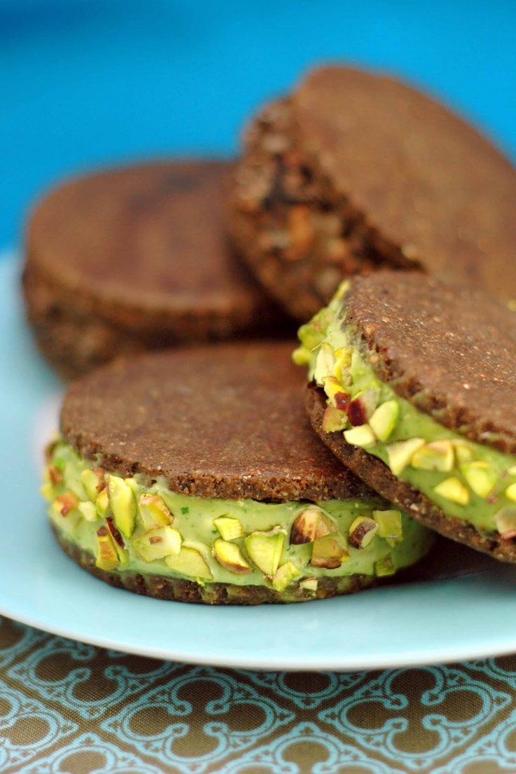 Raw ice cream sandwich cookies  Cookies:  3/4Calmond meal  1/4C raw buckwheat groats, ground (or more almond meal)  1/2C cacao  1/2C chopped dates, soaked until soft  2T agave  1t vanilla extract  salt  Filling option Avocado mint  2 ripe avocados  1/2 C mint leaves, chopped  1/2 C agave nectar  1T fresh lemon juice  1 t vanilla extract  1/2 t mint extract  1/4C coco oil  Filling option Chocolate avocado  2 avocados  1/2C agave nectar  3T almond butter  1T vanilla ext  1/2C cacao  2T coco…