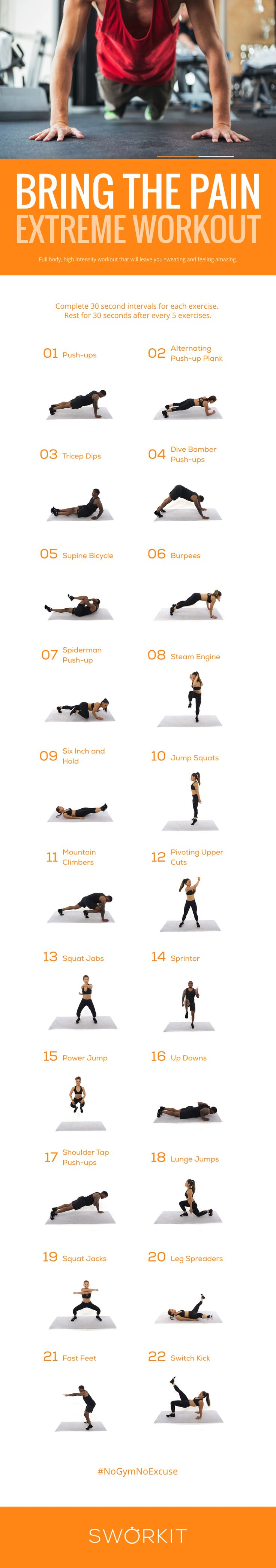 Bring on the Pain with this extreme custom workout for Sworkit for iOS and Android. If you have the Sworkit app, you can import this workout directly into the app: http://m.sworkit.com/share?w=ZkT5-0JkGg