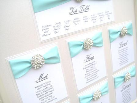 Tiffany Blue Wedding Invitations | Tiffany Blue seating chart/invitation style