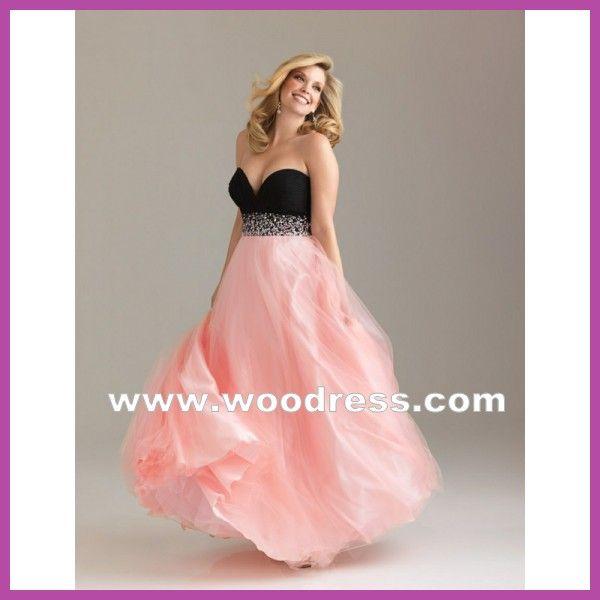 romantico rosa Abiti da sera taglie forti lunghi in chiffon stile 6501w