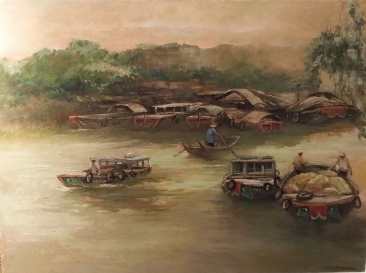 Singapore River by Choo Keng Kwang, 71 x 97cm, Oil on Canvas