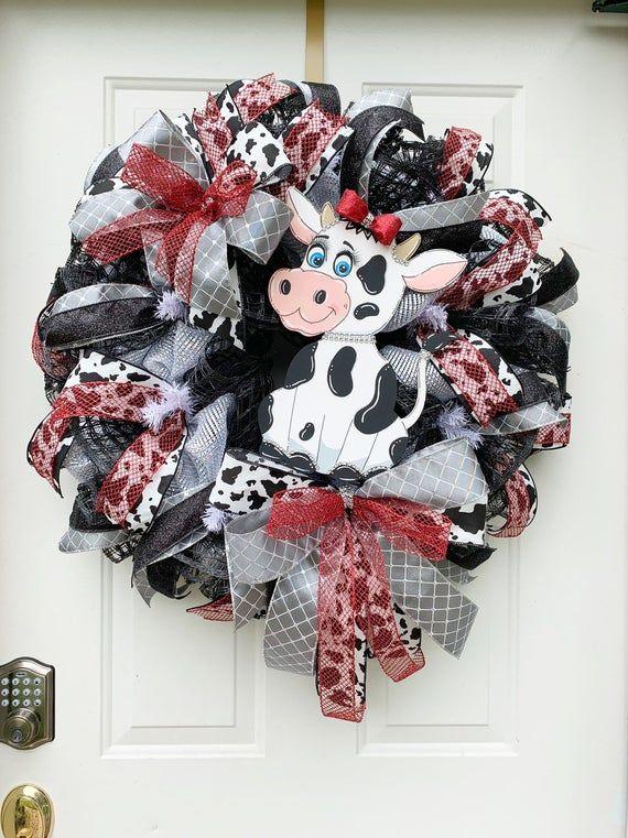 Farmhouse Cow Wreath Farmhouse Door Hanging Farmhouse Decor Cow Decor