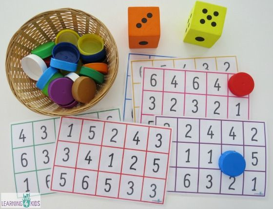 Free printable number bingo boards - great game for subitising skills, counting and number recognition by learning 4 kids