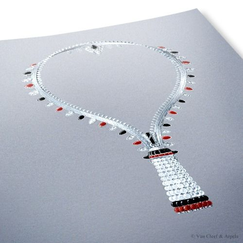 Gouache drawing of the Zip Elegance necklace transformable into a bracelet, Pierres de Caractère Variations collection White gold, round diamonds, onyx and red coral (corallium rubrum) motifs and beads, white cultured pearls. The Zip Elegance necklace can be left partially open or fully closed and worn as a bracelet. The first Zip necklace transformable in a bracelet appeared in 1951. As such, it exemplifies Van Cleef