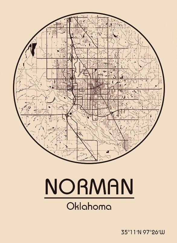 Karte / Map ~ Norman, Oklahoma - Vereinigte Staaten von Amerika / United States of America / USA