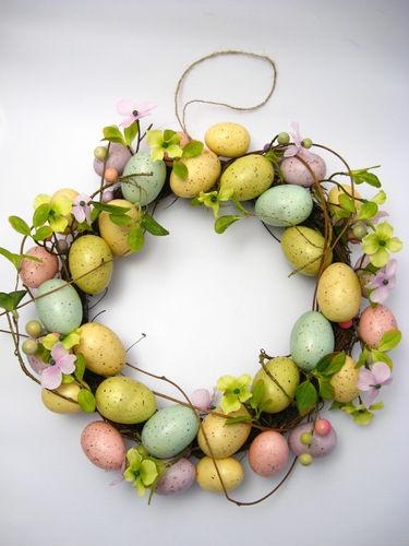 Gisela Graham Easter egg wreath with flower blossom 40cm country living style | eBay