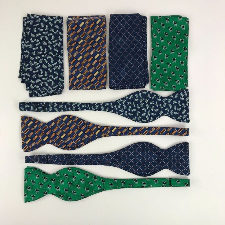 Beau Ties Ltd Of Vermont Lot of 4 100% Silk Bow Ties Matching Pocket Squares  #BeauTiesLTDofVermont #BowTie