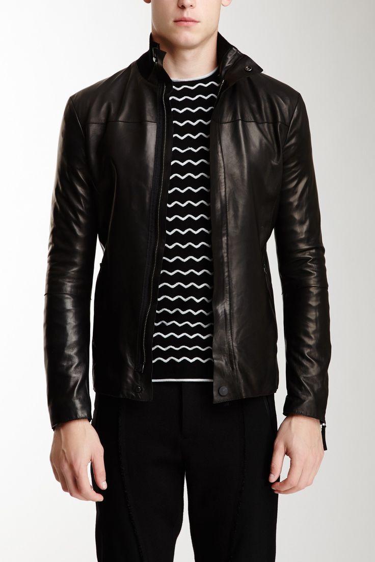 Emporio Armani Leather Jacket Jacket #ZipclosureMen #Outerwear