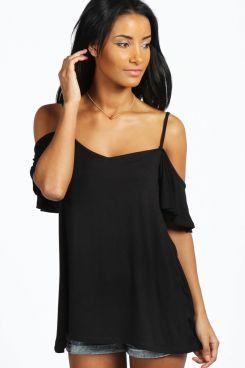 Lola Frill Sleeve Swing Top at boohoo.com