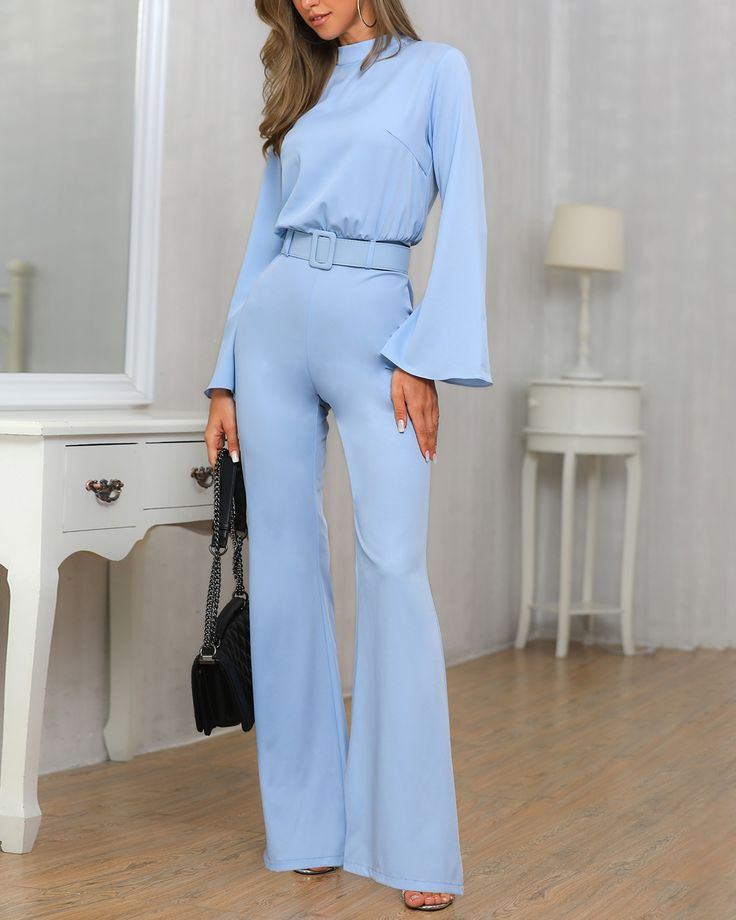 High Neck Bell Sleeve Wide Leg Jumpsuit With Belt Wide Leg Jumpsuit Jumpsuit Elegant Bell Sleeves
