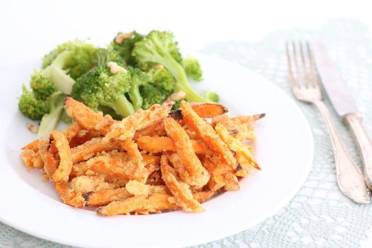 Zoete aardappelfriet met kaas