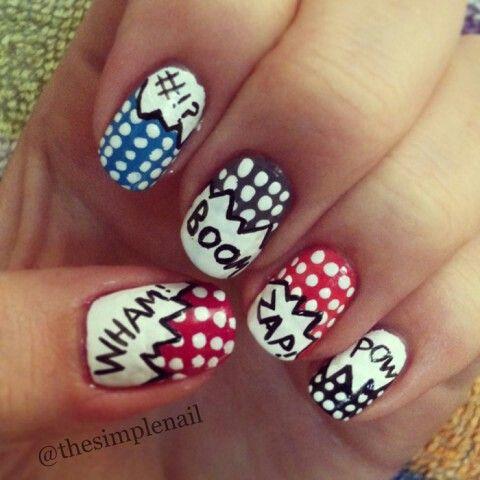 comic nail art  nail designs funky nail designs pop art
