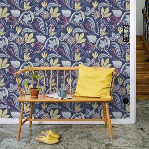 wallpaper Särö dark blue, design Joy Zandén