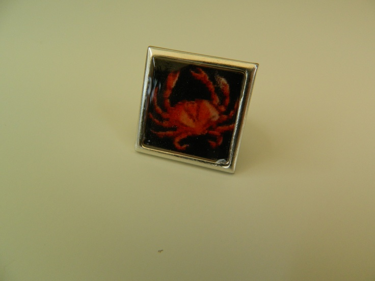 """Square """"cancer"""" resin ring"""