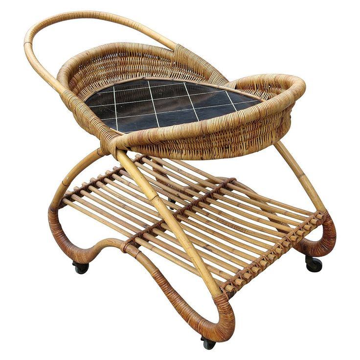 Free-Form Rattan Bar Cart with Tile Top   From a unique collection of antique and modern bar carts at https://www.1stdibs.com/furniture/tables/bar-carts/