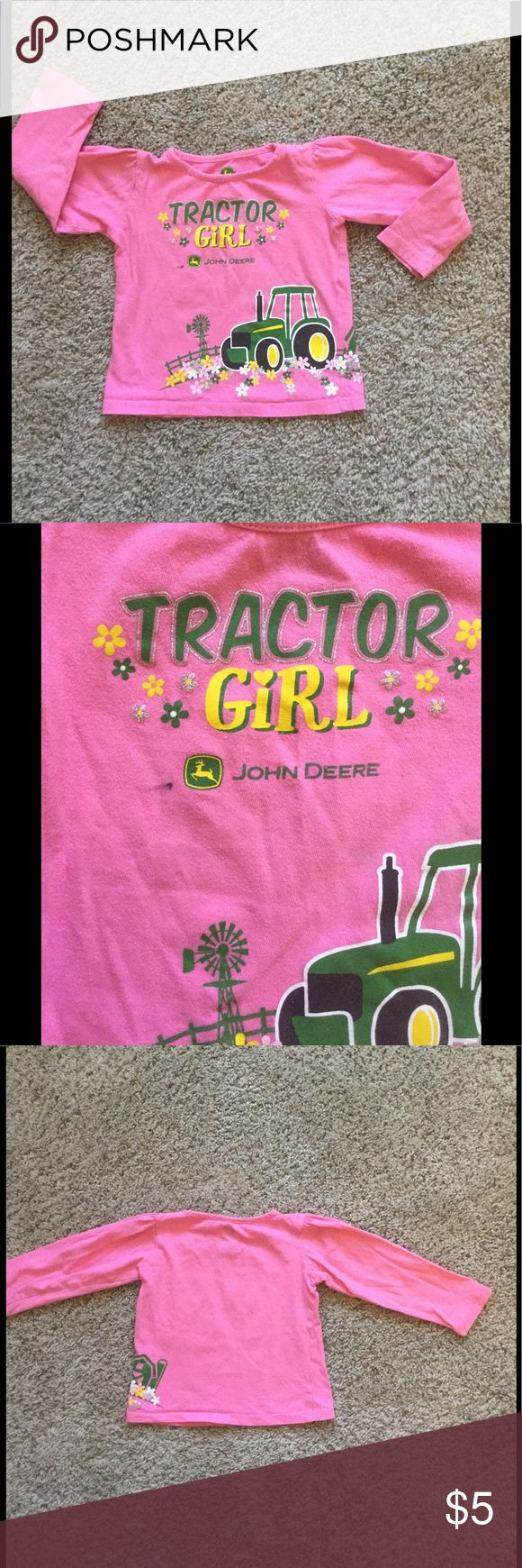"""John Deere toddler top Adorable """"Tractor Girl"""" long sleeved top. Used condition, has spot on front as seen in pic 2. Priced accordingly. John Deere Shirts & Tops Tees - Long Sleeve"""
