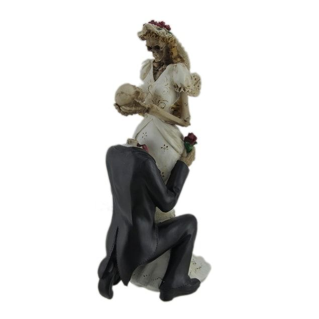 Skeleton Bride and Groom Wedding Couple Statue Cake Topper - Multicolored