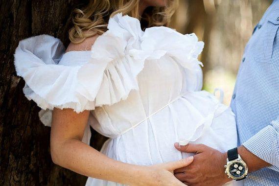 Off Shoulder Maternity Dress Ruffled White Prenatal Photo Patisserie Knee Length Womens Custom Order on Etsy, $79.00
