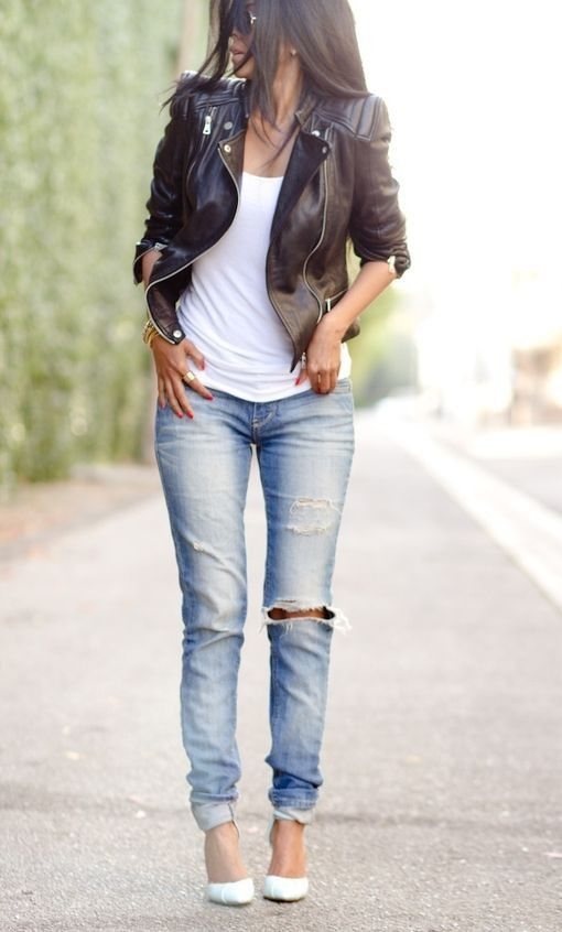 Spring Fashion / blue ripped jeans   leather jacket