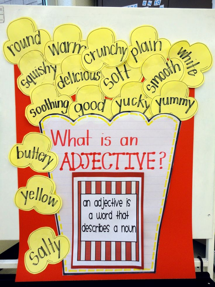 This is a great idea for teaching adjectives. I like how the project is built upon a theme. Each adjective describes popcorn. You could even change up the theme to coincide with your lesson plans. the only problem doing this would be that it is timeconsuming to change it up. It would require you to be able to draw a new one when you wanted to change it.