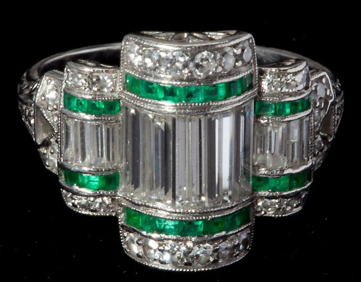 Art Deco Platinum, Diamond and Emerald Ring, Leland Little Auctions
