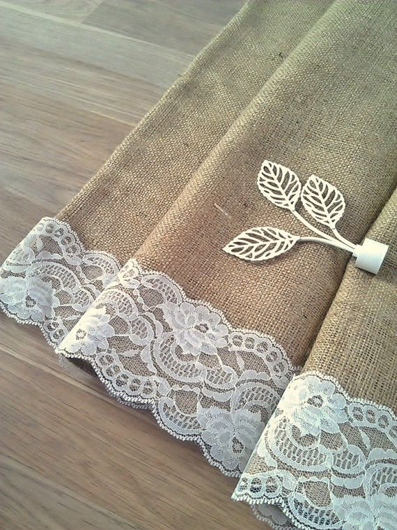 Handmade burlap cafe curtain with a delicate white lace trim  Enhance your home by decorating your rooms with our rustic yet elegant burlap