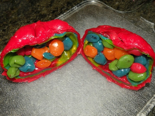 The Super Gusher - a box of Gushers wrapped in Fruit Roll-Ups wrapped in Fruit by the Foot. I think just looking at this page alerted my dentist.