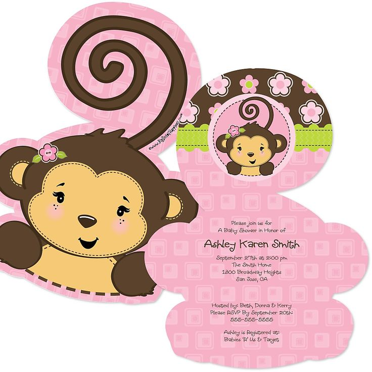 Monkey Girl - Shaped Baby Shower Invitations | BigDotOfHappiness.com