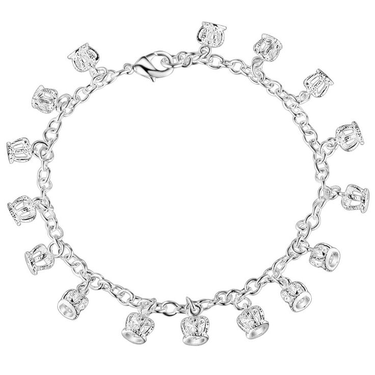 Aliexpress.com : Buy crown bling Wholesale silver plating bracelet, Silver plated fashion jewelry /OGQICCNB BPEUZYCL from Reliable bracelets for men jewelry suppliers on yinfen guo's store