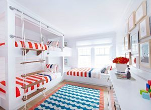 Bunk Beds. Coastal Bunk room Bunk beds. Bunk Beds. This coastal bunk room features built in bunk beds with rope ladder and industrial pipe railings. Coastal Bunk room Bunk beds with rope stairs and pipe railings. Bunk Beds. Coastal Bunk room Bunk beds #Bunk Beds. CoastalBunkroom #Bunkroom #Bunkbeds #ropeladder #ladder #piperailings #industrialpipe Chango & Co.