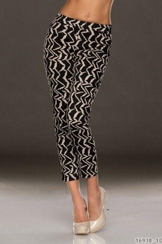 Κάπρι βαμβακερό παντελόνι με σχέδια ζικ ζακ-Μαύρο Μπεζ
