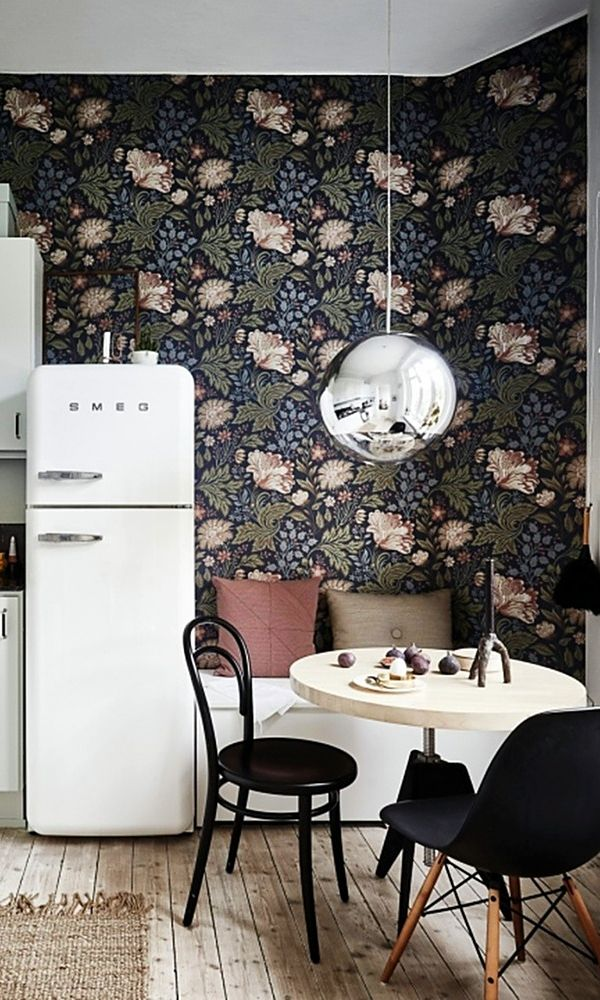 Love How That Metallic Light Fixture Stands Out Against The Wallpaper