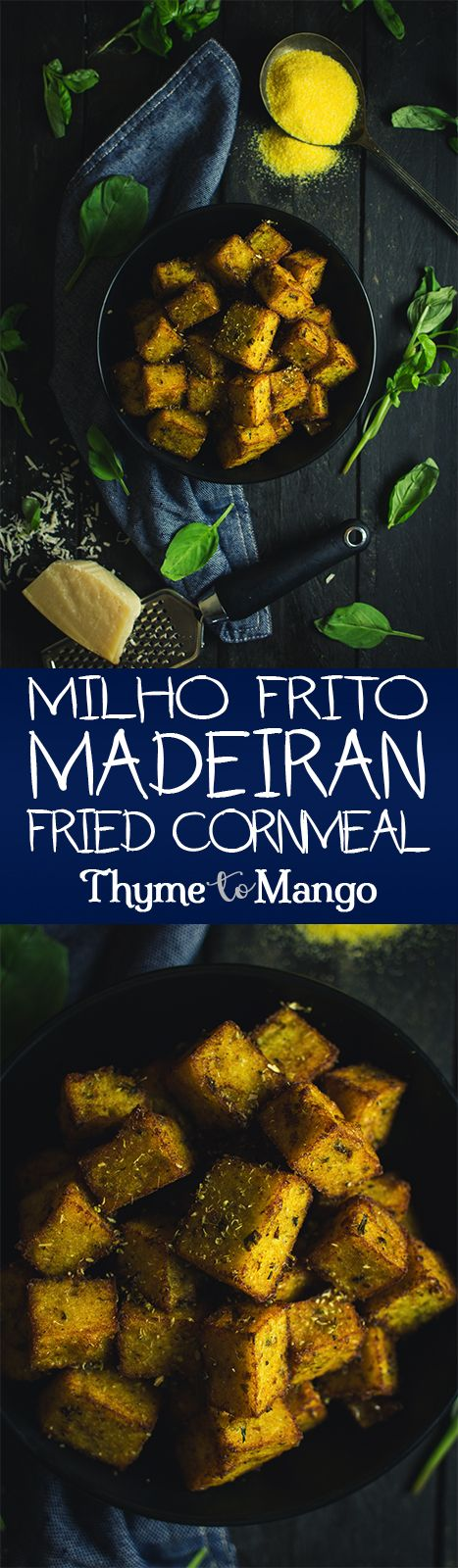 Crispy and golden on the outside, soft and cheesy and the inside, these Milho Frito (aka awesome cornmeal fries) make a delicious side or snack!