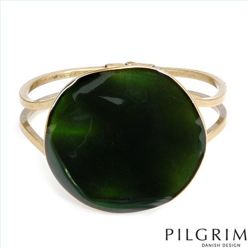 PILGRIM SKANDERBORG, DENMARK Terrific Brand New Bracelet Made of Yellow Base metal and Green Enamel. Total item weight 53.7g  Length 7in
