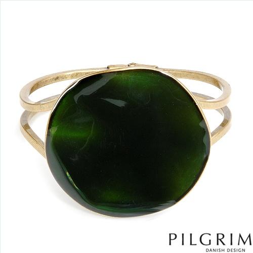 PILGRIM SKANDERBORG, DENMARK Terrific Brand New Bracelet Made of Yellow Base metal and Green Enamel. Total item weight 53.7g  Length 7in