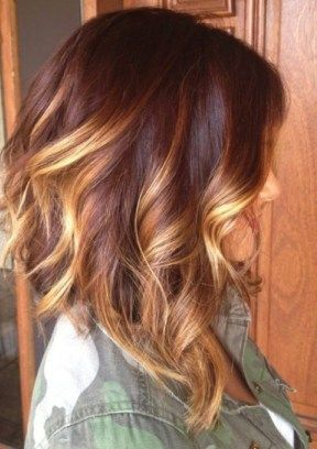 long bob with red ombre