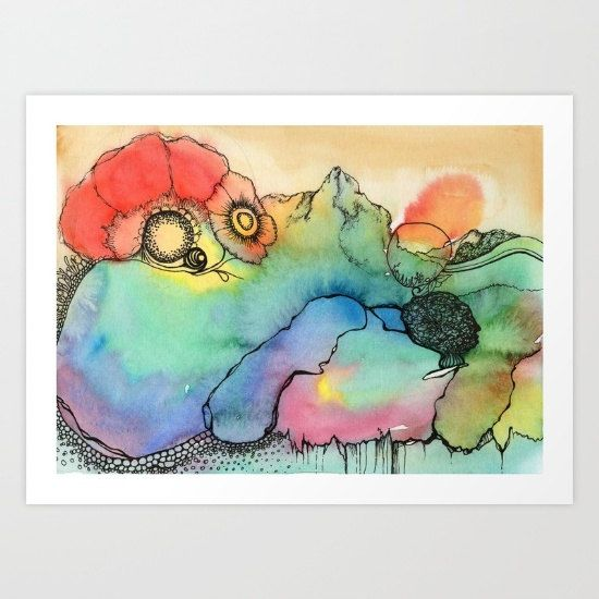Dreamtime abstract watercolor print