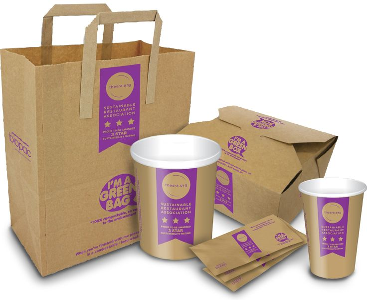 Range of compostable disposable packaging we designed for the Sustainable Restaurant Association (The SRA) and their members